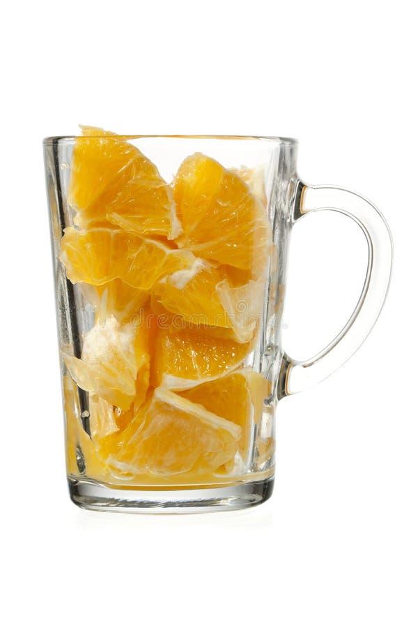 Oranje pulp in glas royalty-vrije stock afbeeldingen