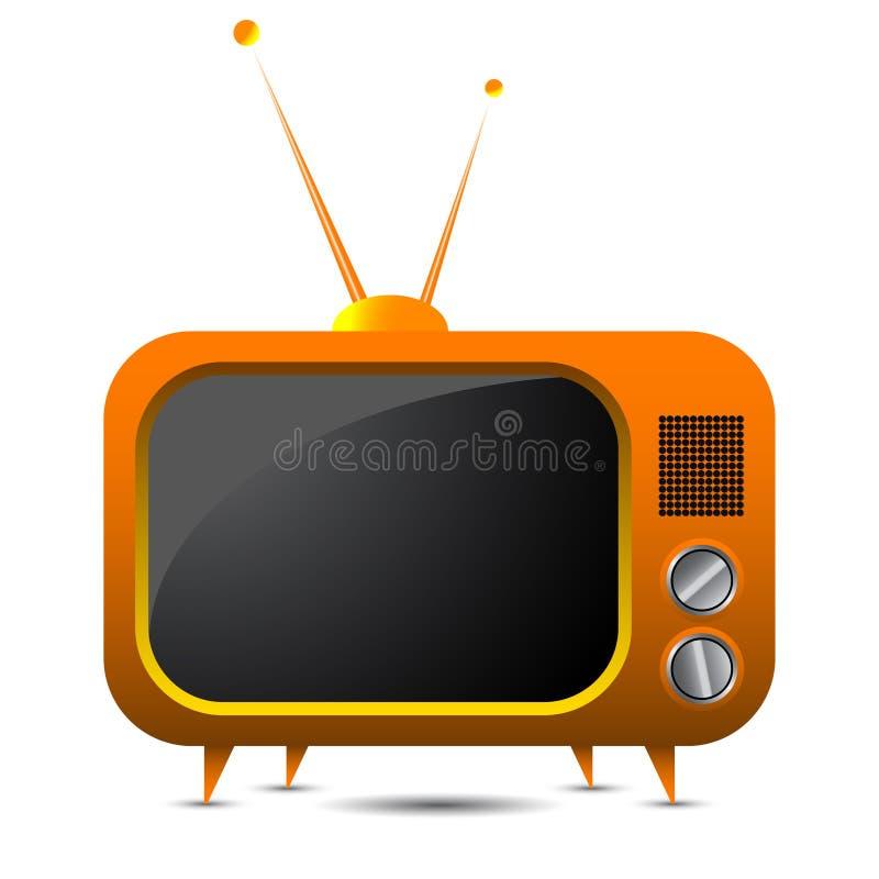 Oranje retro TV vector illustratie
