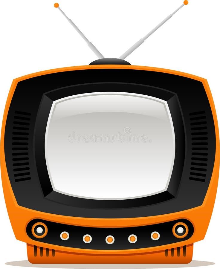 Oranje retro TV stock illustratie