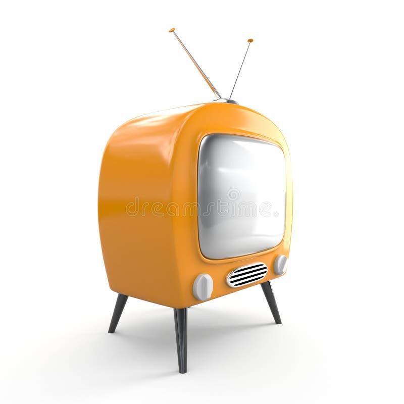 Oranje retro TV royalty-vrije illustratie
