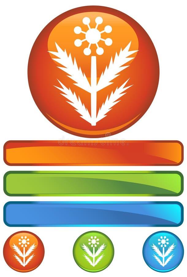 Oranje Rond Pictogram - Onkruid stock illustratie