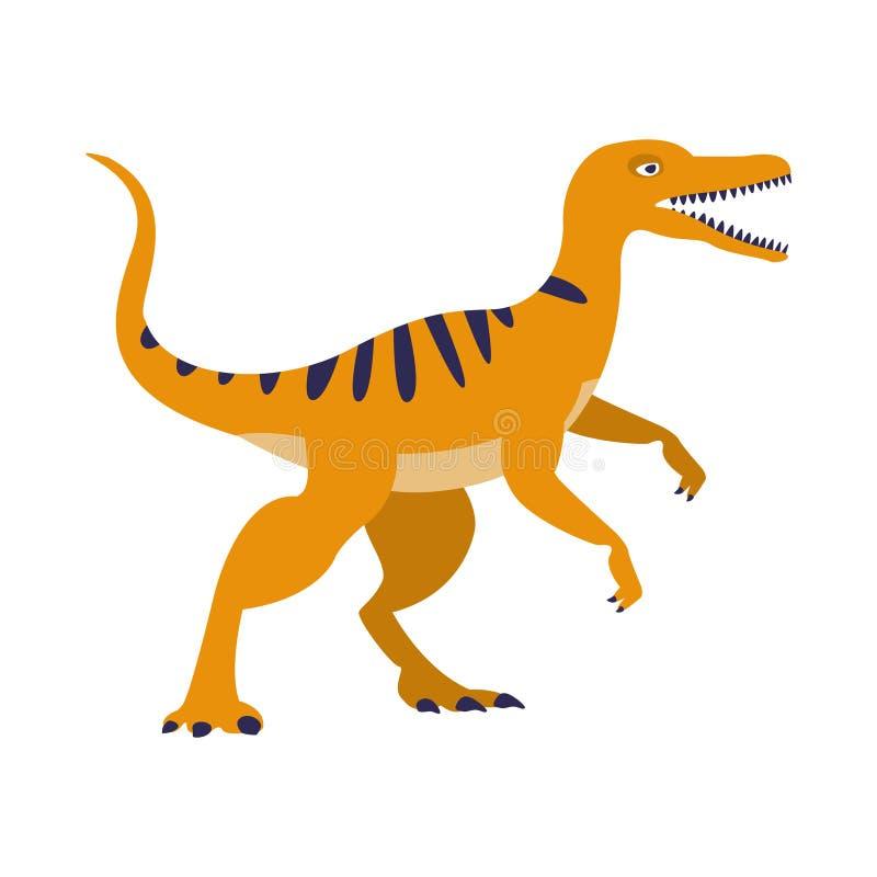 Oranje Roofvogeldinosaurus van Juraperiode, Voorhistorisch Uitgestorven Reuze Reptielbeeldverhaal Realistisch Dier vector illustratie