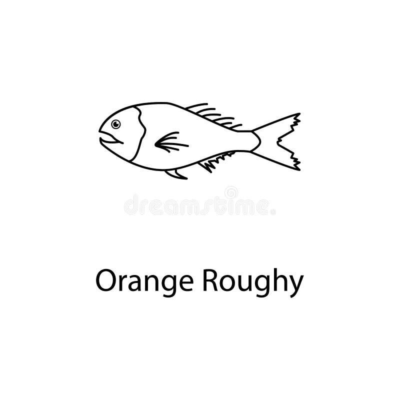 oranje roughy pictogram Element van het mariene leven voor mobiel concept en Web apps Het dunne lijn oranje roughy pictogram kan  stock fotografie