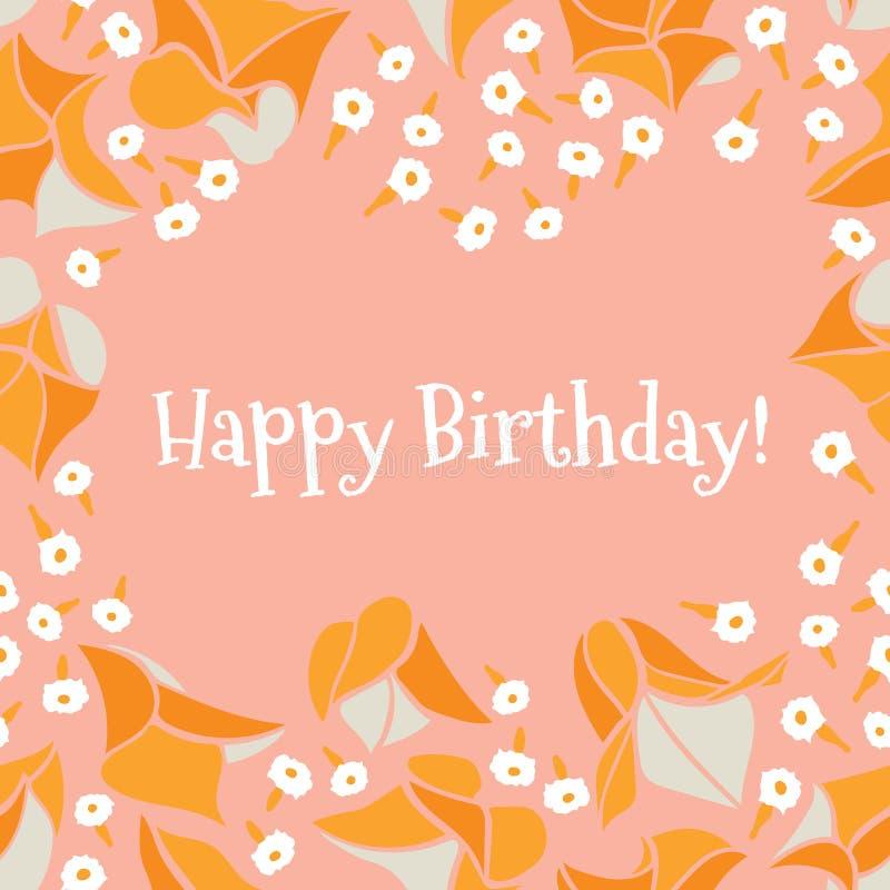 Oranje roze vector de groetkaart van de tuin ditsy bloemen Gelukkige Verjaardag royalty-vrije illustratie