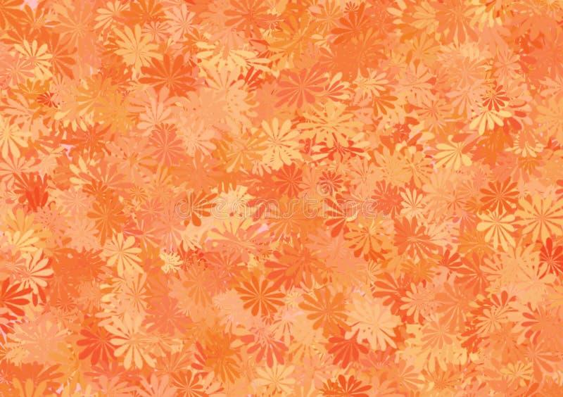 Oranje schaduw bloemenpatroon gelaagd behang vector illustratie
