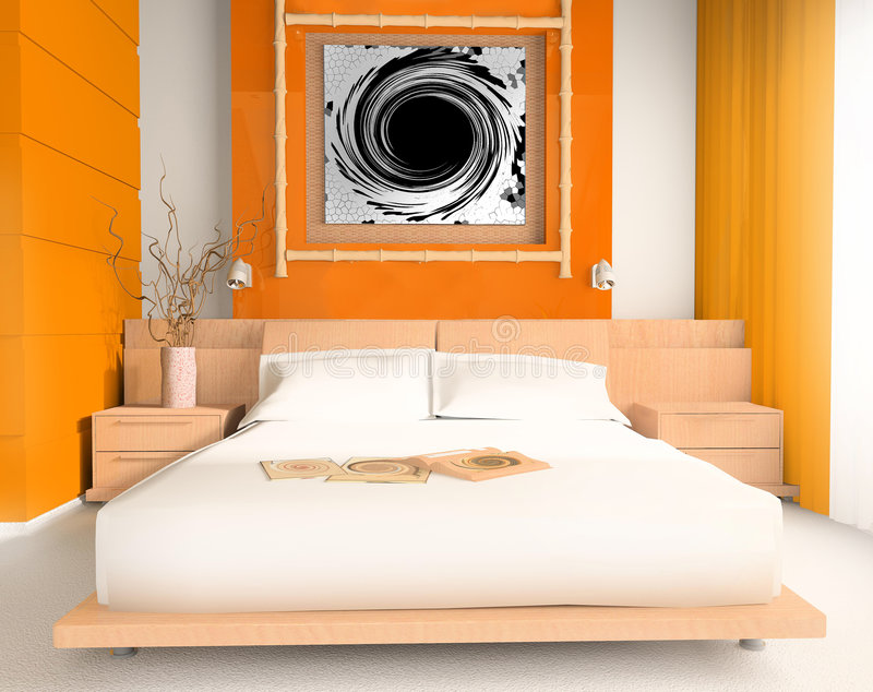 Oranje slaapkamer