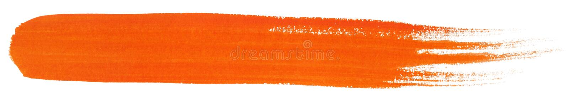 Oranje slag van de borstel van de gouacheverf stock foto