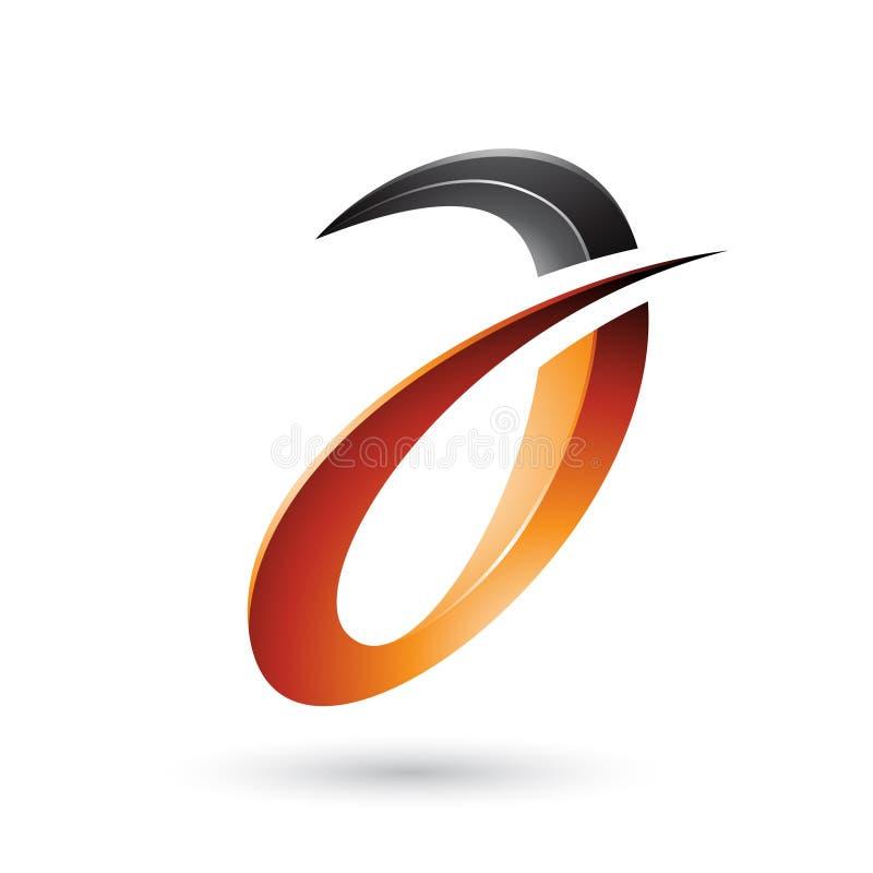 Oranje Stekelige en Glanzende die Brief A op een Witte Achtergrond wordt geïsoleerd stock illustratie