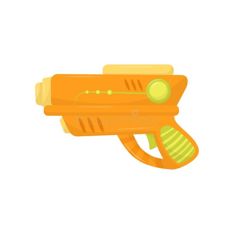 Oranje stuk speelgoed kanon, wapenpistool voor de vectorillustratie van het jonge geitjesspel op een witte achtergrond royalty-vrije illustratie