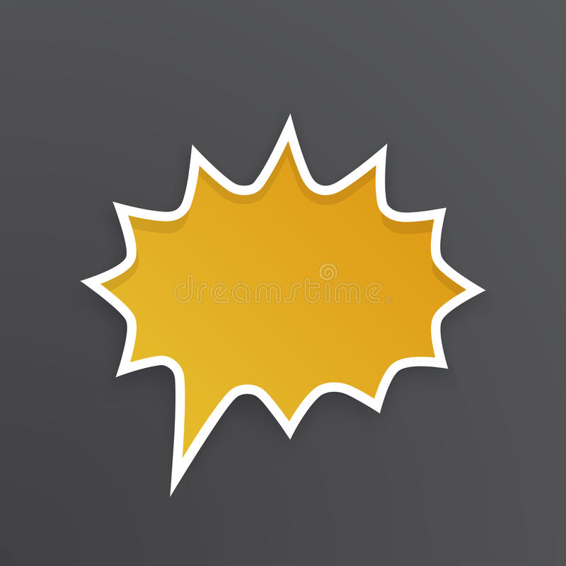 Oranje toespraakbel voor schreeuw bij rond gemaakte vorm met weerhaken vector illustratie