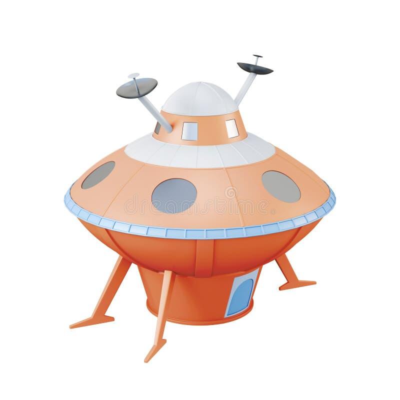 Oranje UFO dat op witte achtergrond wordt geïsoleerd het 3d teruggeven royalty-vrije illustratie