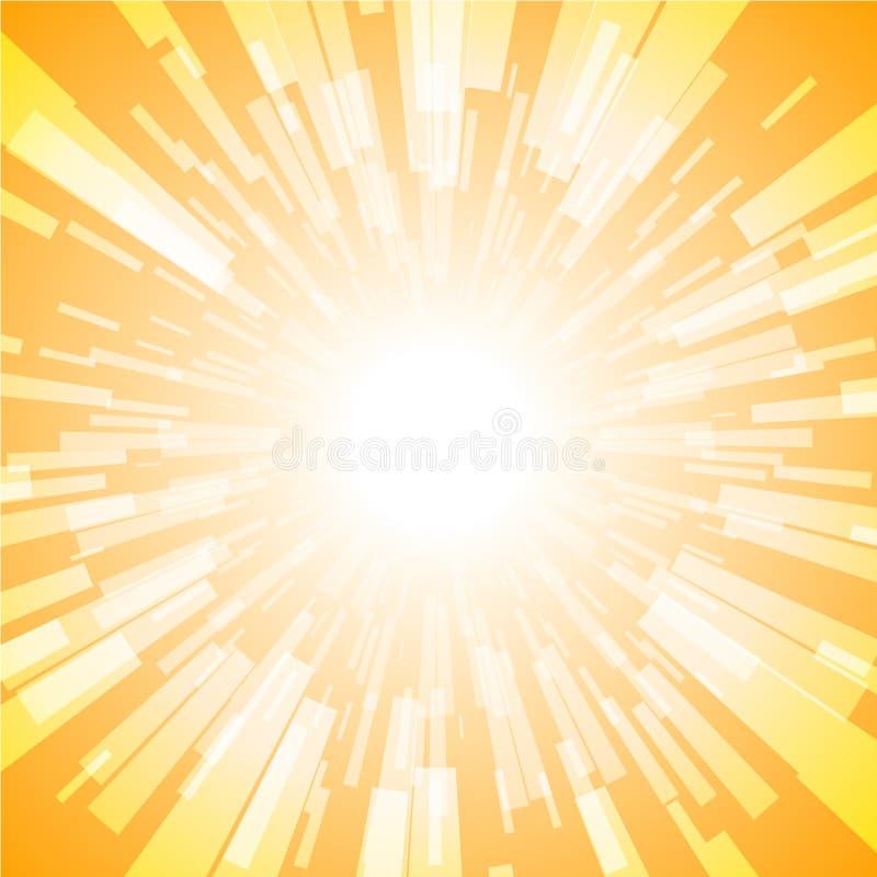 Oranje Uitbarsting Ray Light Stripe vector illustratie