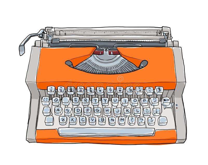 Oranje uitstekende Schrijfmachines stock illustratie