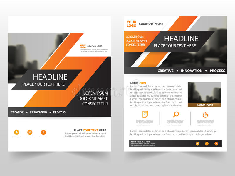 Oranje van het de Vlieger jaarverslag van het bedrijfsbrochurepamflet het malplaatjeontwerp, de lay-outontwerp van de boekdekking vector illustratie