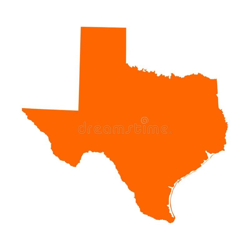 Oranje vector de kaartsilhouet van Texas vector illustratie