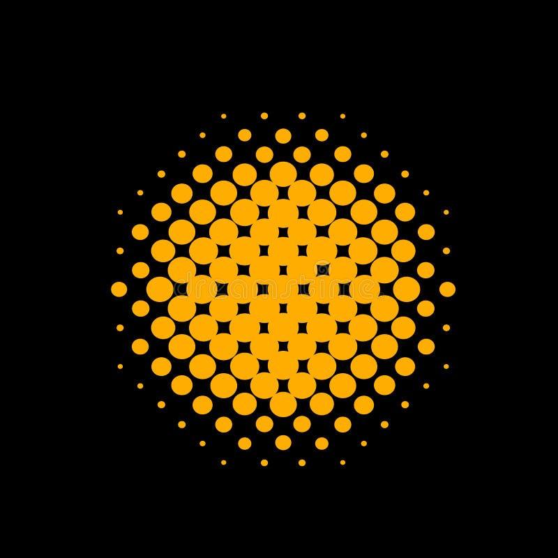 Oranje Vector Halftone Cirkel royalty-vrije illustratie