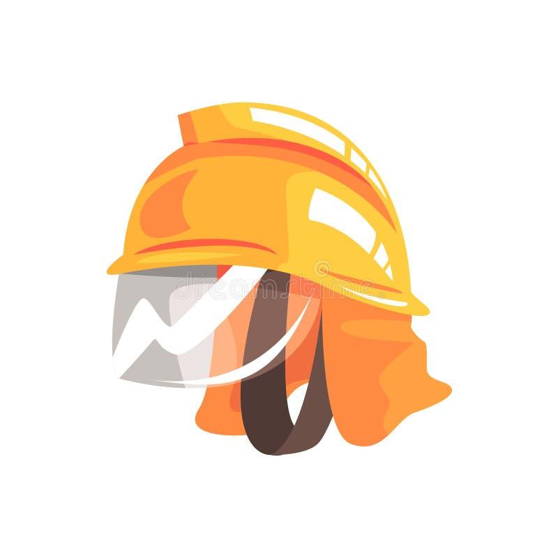 Oranje veiligheidshelm voor brandweerman vectorillustratie royalty-vrije illustratie