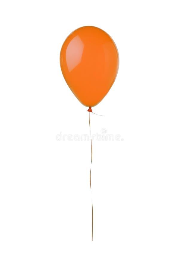 Oranje vliegende die ballon op wit wordt geïsoleerd royalty-vrije stock fotografie