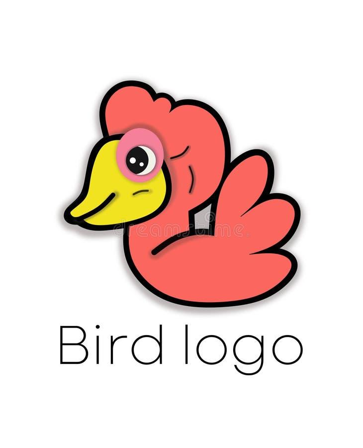 Oranje Vogelembleem Abstracte vectorillustratie van leuk eendje vector illustratie