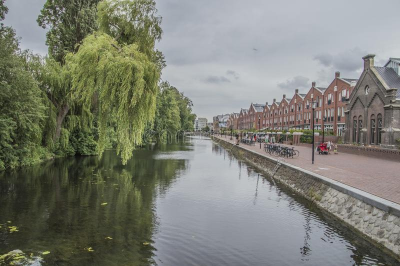 Oranje Vrijstaatkade på Amsterdam Nederländerna 2018 arkivbild