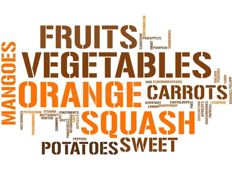 Oranje vruchten en groenten - woordwolk stock illustratie