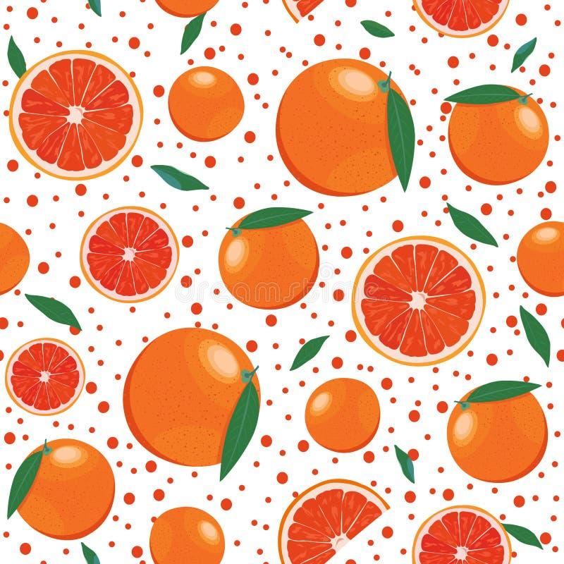 Oranje vruchten en plak naadloos patroon met het fonkelen op witte achtergrond De vector van grapefruitcitrusvruchten royalty-vrije illustratie
