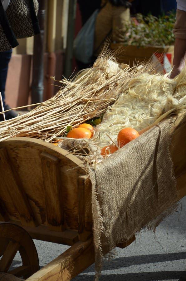 Oranje vruchten in kruiwagen stock fotografie