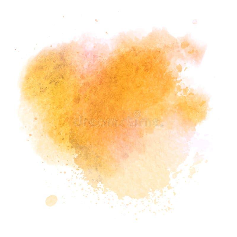 Oranje waterverf splotch vector geschilderde achtergrond vector illustratie