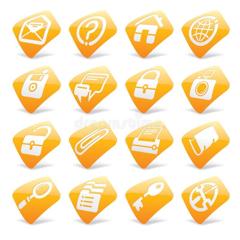 Oranje website en Internet pictogrammen 1 royalty-vrije illustratie