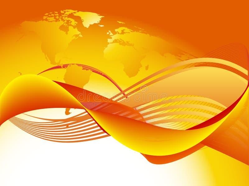 Oranje wereldgolf vector illustratie