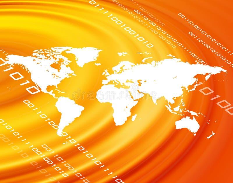 Oranje wereldkaart stock illustratie