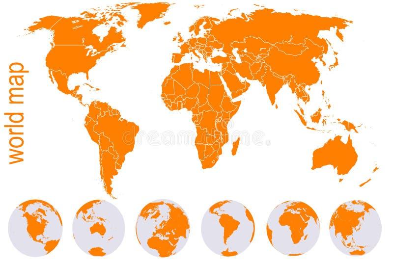 Oranje wereldkaart met de bollen van de Aarde royalty-vrije illustratie
