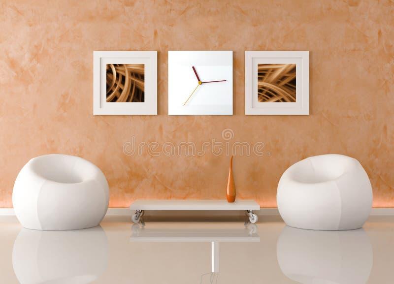 Oranje woonkamer royalty-vrije illustratie