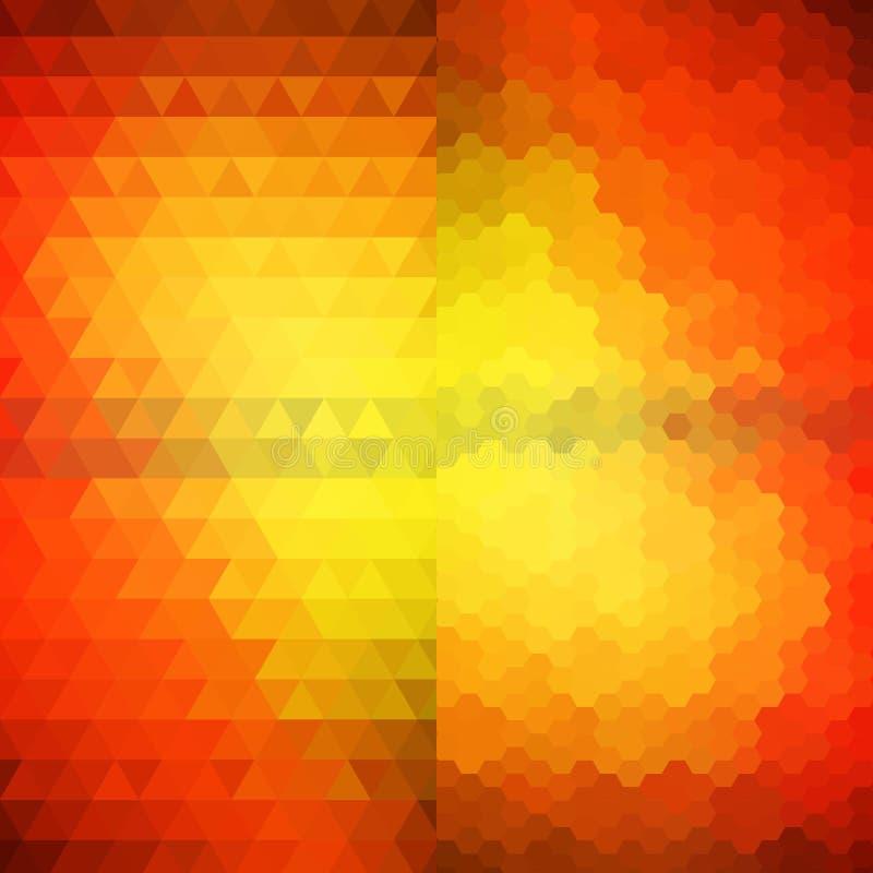 Oranje zeshoek en driehoek Abstracte vectorachtergrond Eps 10 stock illustratie