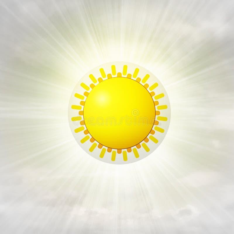 Oranje zon in glanzende bel in de lucht met gloed royalty-vrije illustratie