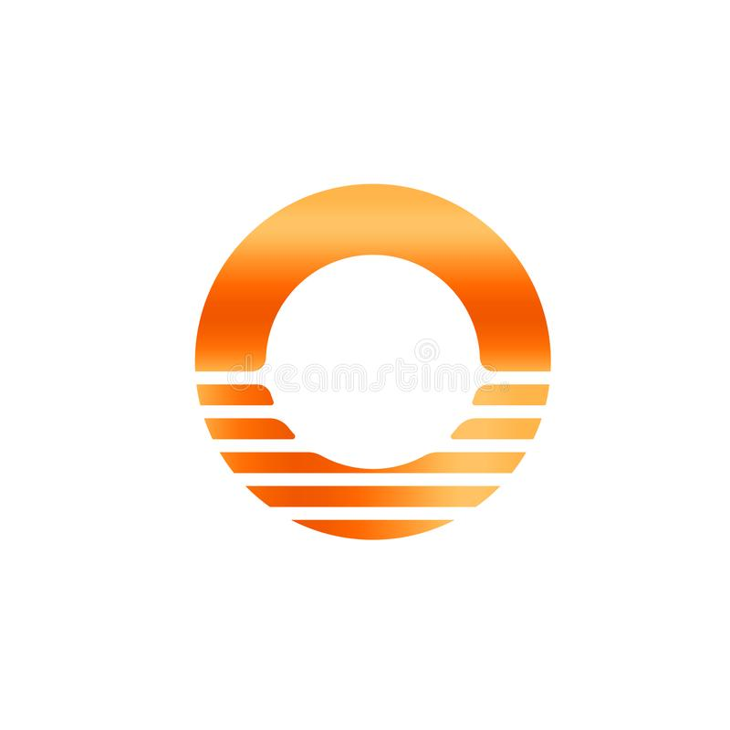 Oranje zonicon Abstracte brief O Zonsopgang en sundet logotype Het malplaatje van het cirkelembleem, vectorillustratie vector illustratie