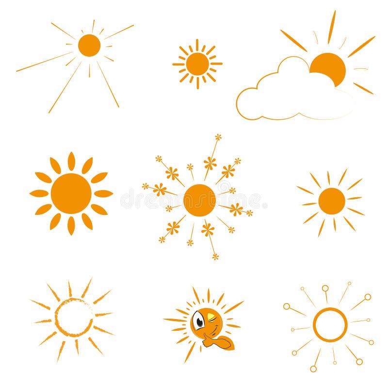 Oranje Zonpictogrammen De zon plaatst rechtstreeks, overladen en verdraaide stralen op witte achtergrond vector illustratie