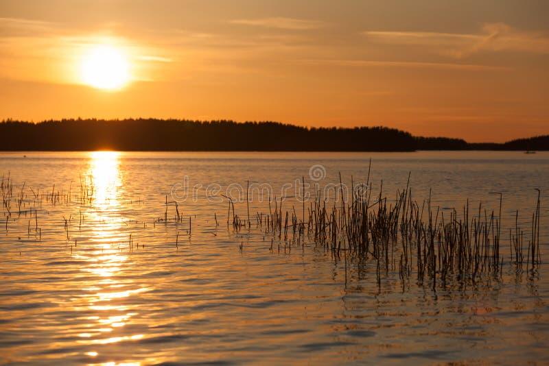 Oranje zonsondergang op meer in Finland stock afbeeldingen