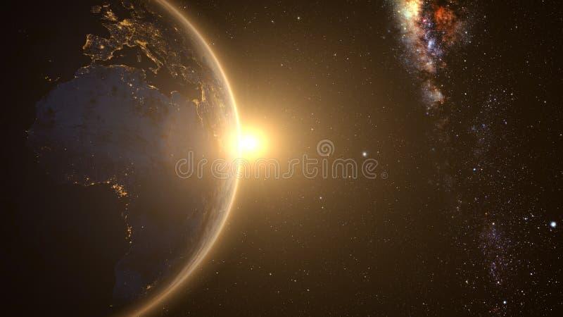 Oranje Zonsopgang over aarde royalty-vrije stock foto's