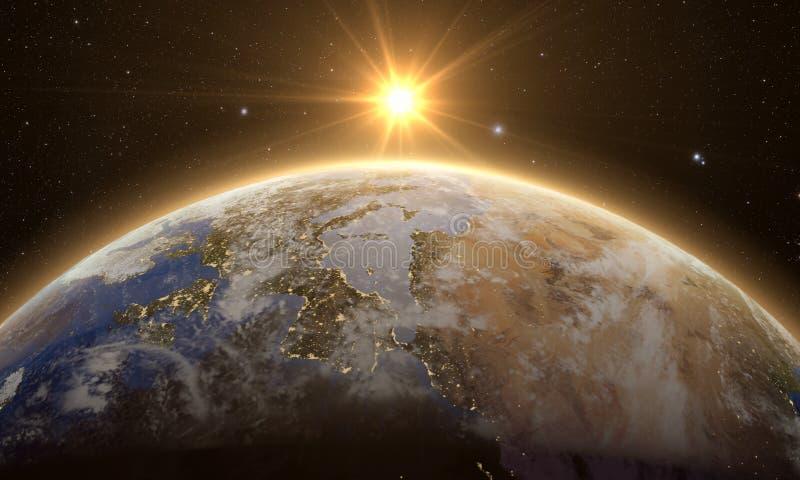 Oranje Zonsopgang over aarde vector illustratie