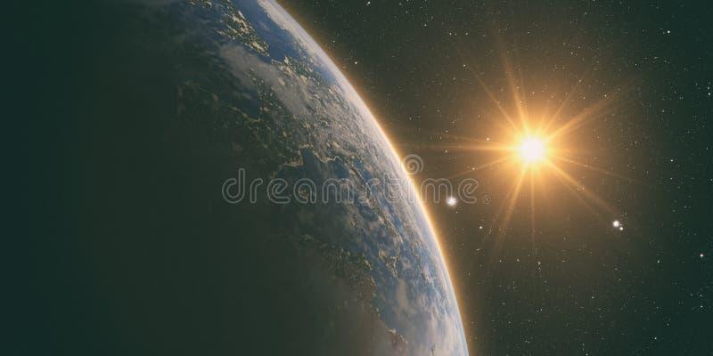 Oranje Zonsopgang over aarde stock illustratie