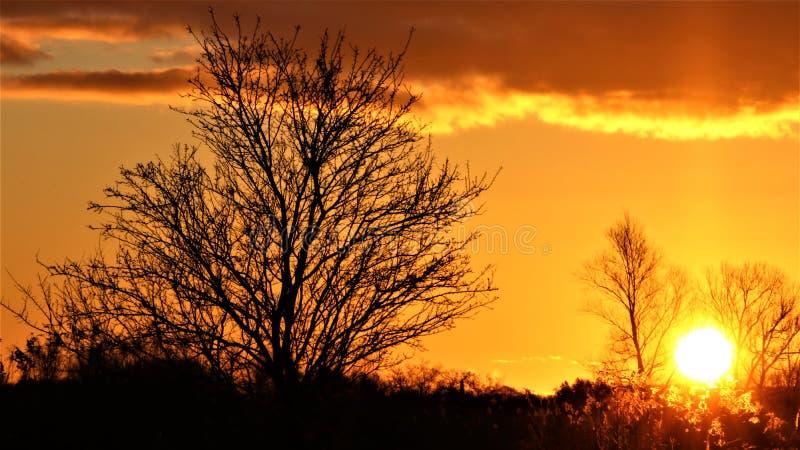 Oranje zonsopgang van vroege ochtend royalty-vrije stock foto