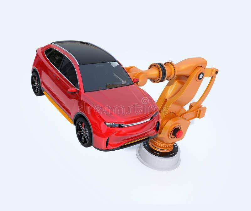 Oranje zwaargewicht robotachtig wapen die rood SUV voor assemblage dragen stock illustratie