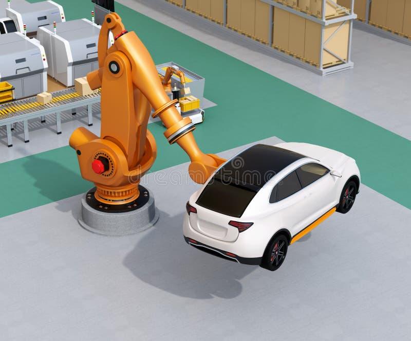 Oranje zwaargewicht robotachtig wapen die wit SUV in de assemblagefabriek dragen royalty-vrije illustratie