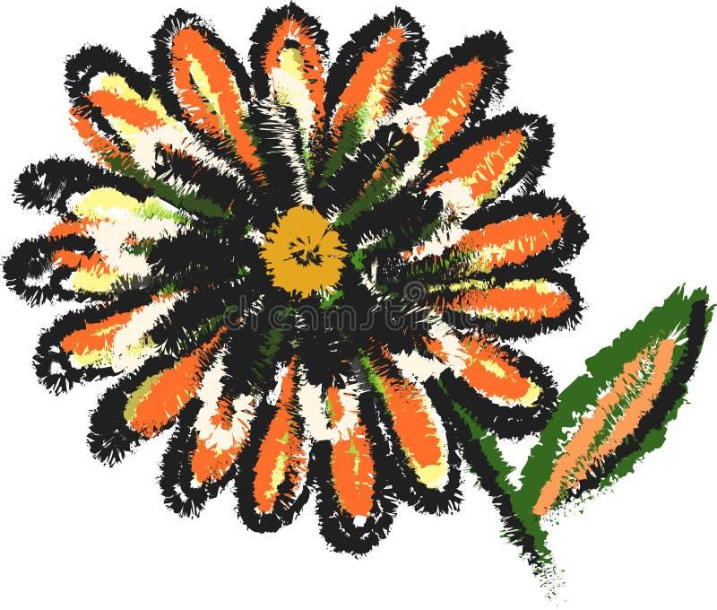 Oranje zwart bloem capricieus art. royalty-vrije stock afbeelding