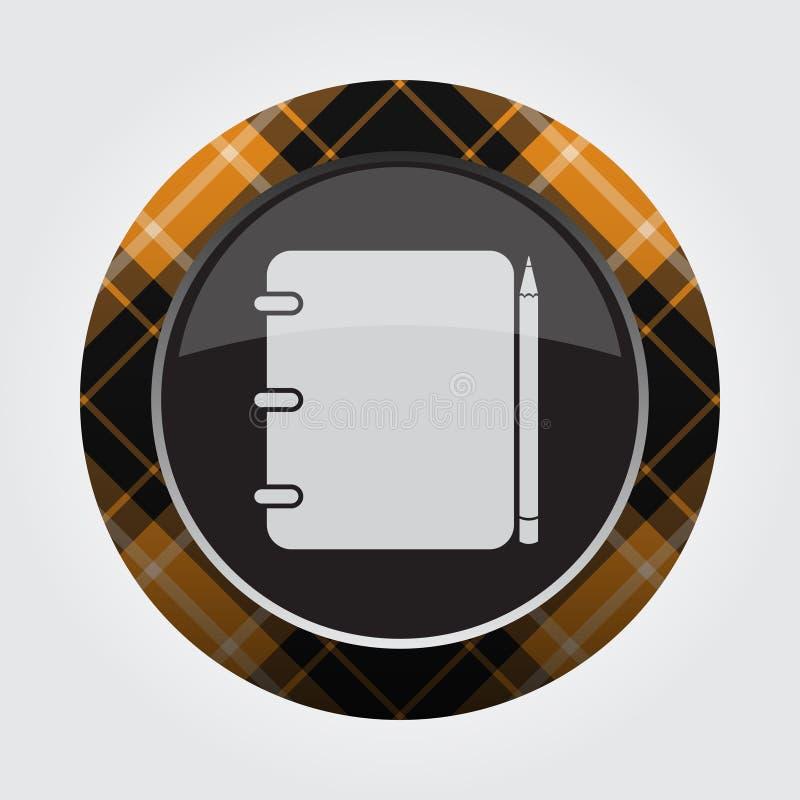 Oranje, zwart knoopgeruit schots wollen stof - blocnote en potlood stock illustratie