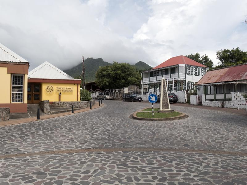 Oranjestad中心在Statia 免版税库存图片
