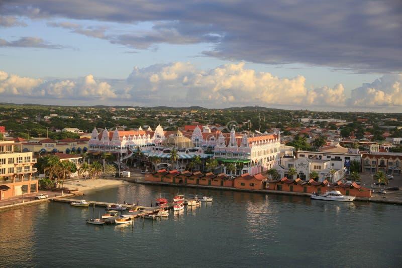 Oranjestad, Aruba,地平线 免版税库存图片