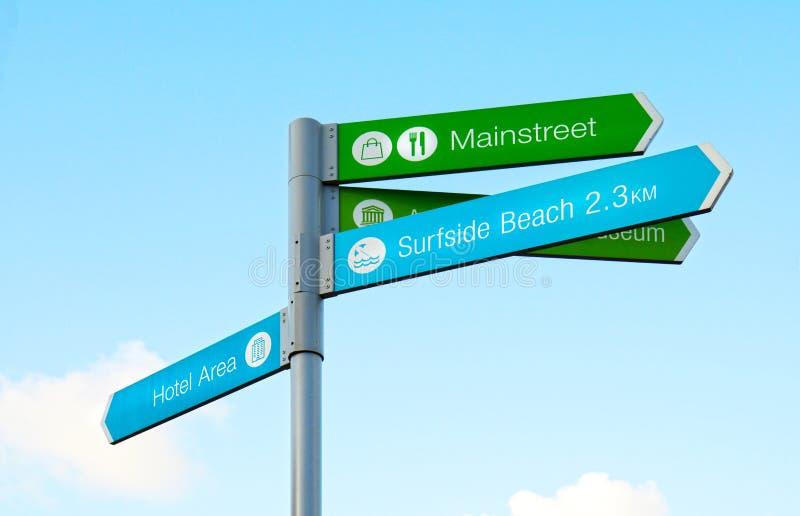 oranjestad aruba Дирекционные знаки для туристов стоковые изображения rf