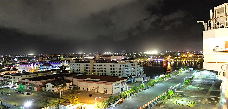 Oranjestad Aruba at night stock images